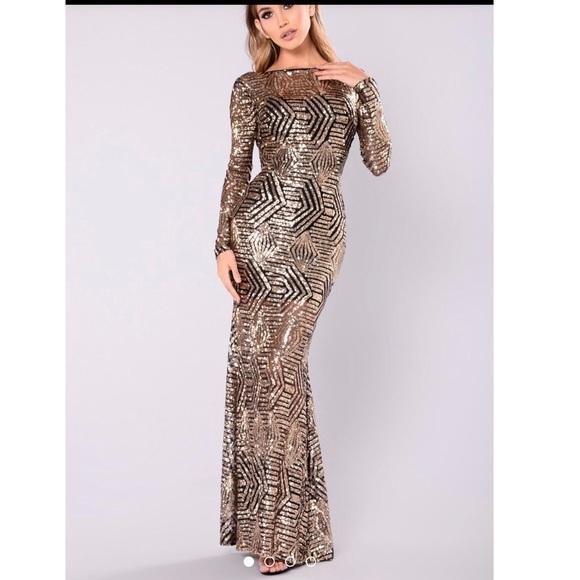 Fashion Nova Dresses Black Gold Sequin Formal Dress Poshmark